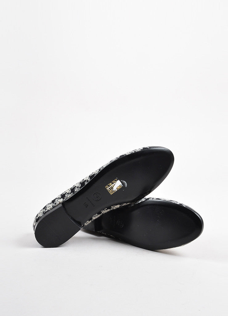 Chanel Black White Tweed Leather Cap Houndstooth Ballerina Flats Sole
