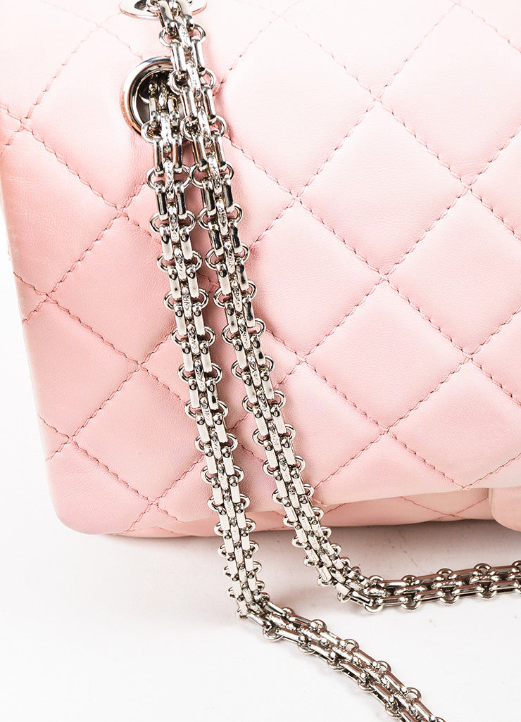 "Chanel Pink and White Leather Ombre Degrad̩ ""2.55 Reissue 227"" Jumbo Double Flap Bag Detail 2"