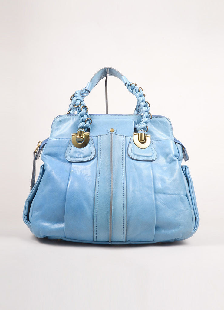 "Chloe Light Blue Leather Braided Handle Large ""Heloise"" Shoulder Bag Frontview"