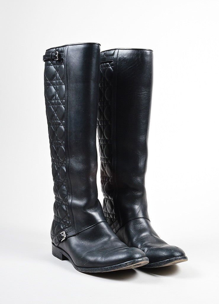 "Black Christian Dior Cannage Quilted Knee High ""City"" Flat Boots Frontview"