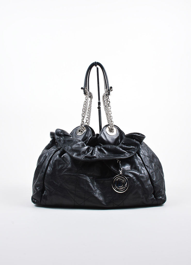 "Black Leather Christian Dior ""Le Trente Cannage Medium Shopping"" Handbag Frontview"