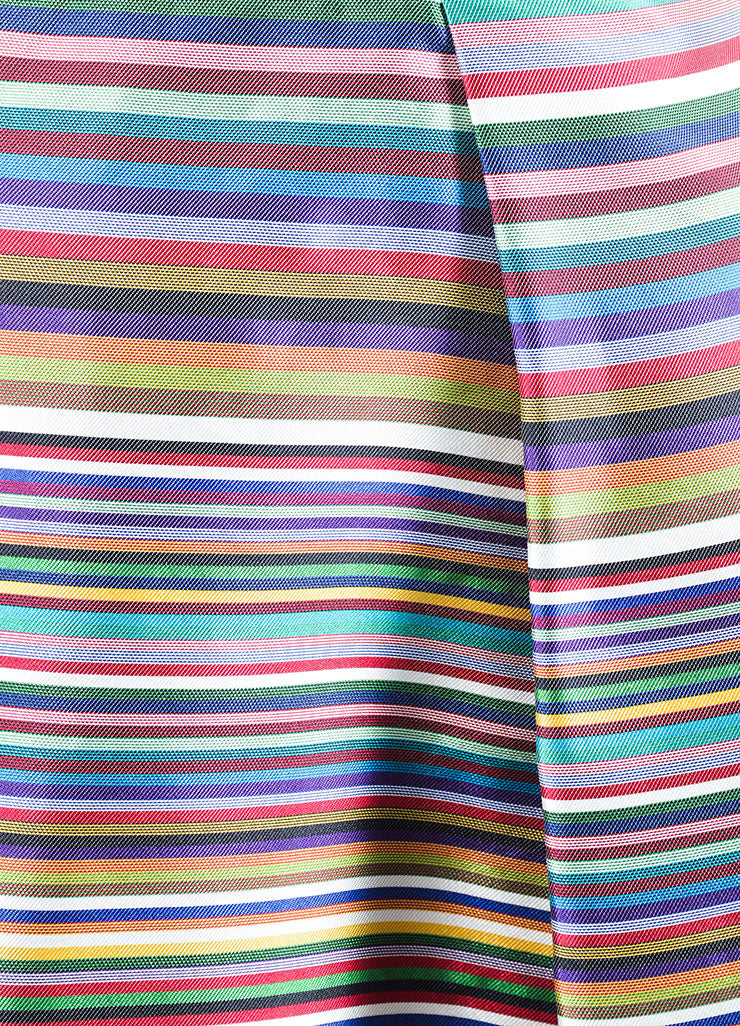 Multicolor Christian Dior Silk Stripe Pleated Sleeveless Dress Detail
