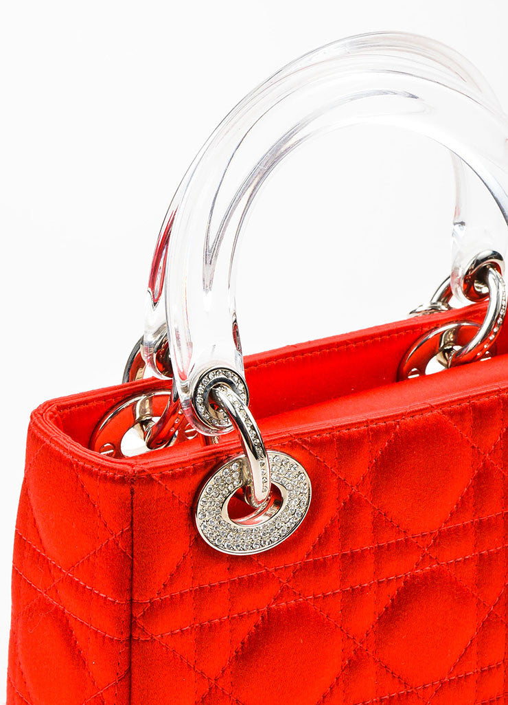 "Christian Dior Red Satin Quilted Acrylic Handle Rhinestone ""Mini Lady Dior"" Bag Detail 2"