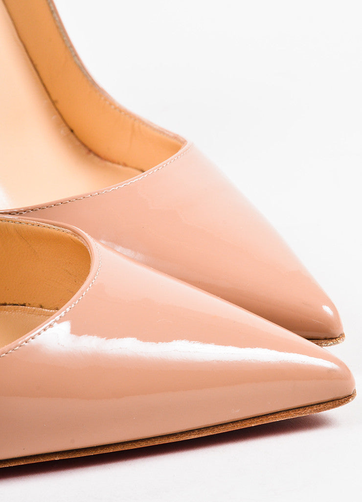 "Christian Louboutin Nude Patent Leather ""So Kate 120"" Pointed Toe Pumps Detail"