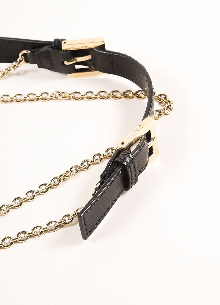 "Fendi Black Sequin Leather Trim Chain Strap ""FF"" Flap Baguette  Detail 3"