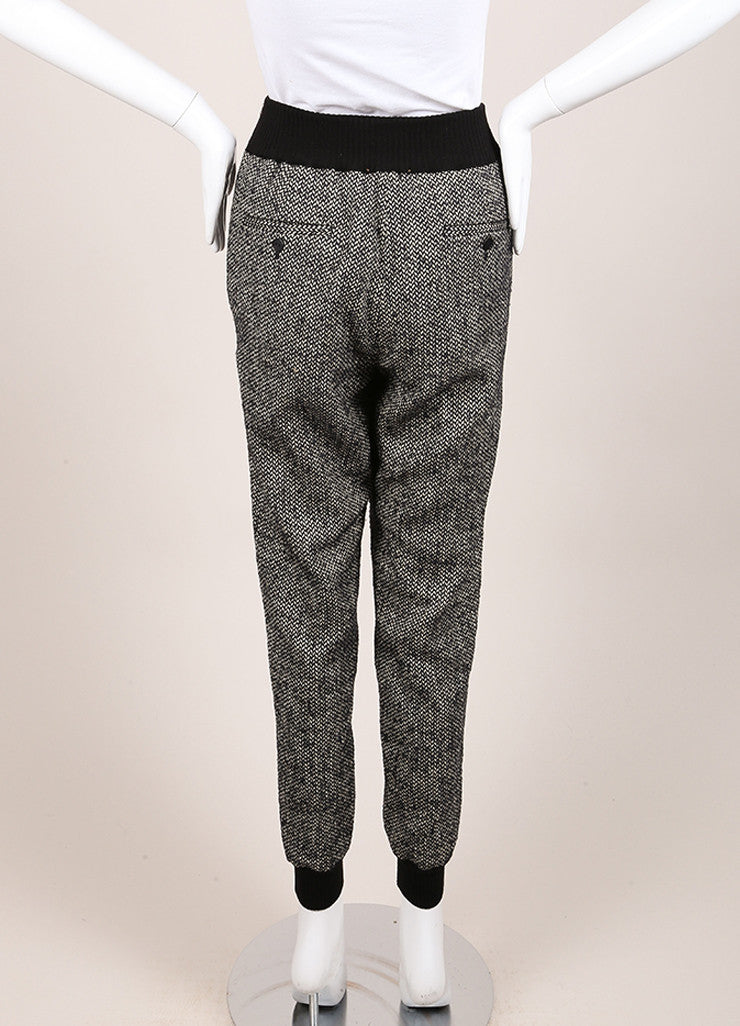 "Giada Forte New With Tags Black and White Knit Tweed ""Notte"" Jogging Pants Backview"