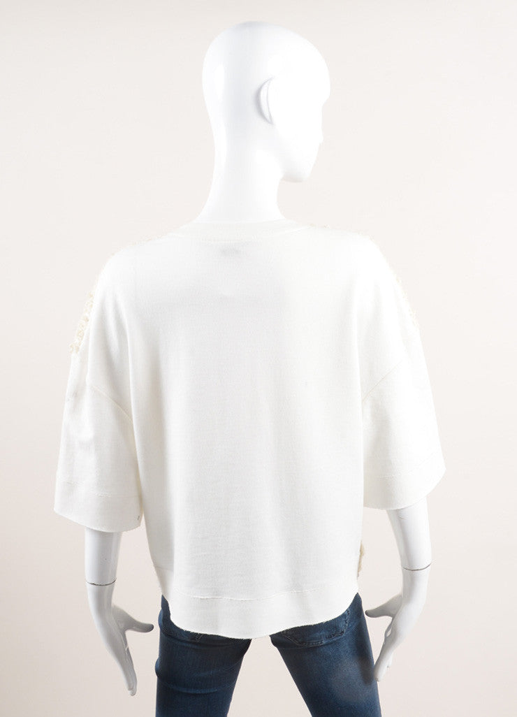 Giambattista Valli Cream Wool Boucle Short Sleeve Top Backview
