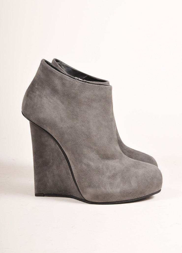 "Giuseppe Zanotti Grey Suede Leather Wedge Ankle ""Daisy"" Booties  Sideview"