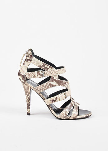 Giuseppe Zanotti Taupe and Brown Leather Embossed Snakeskin Cage Sandals Sideview