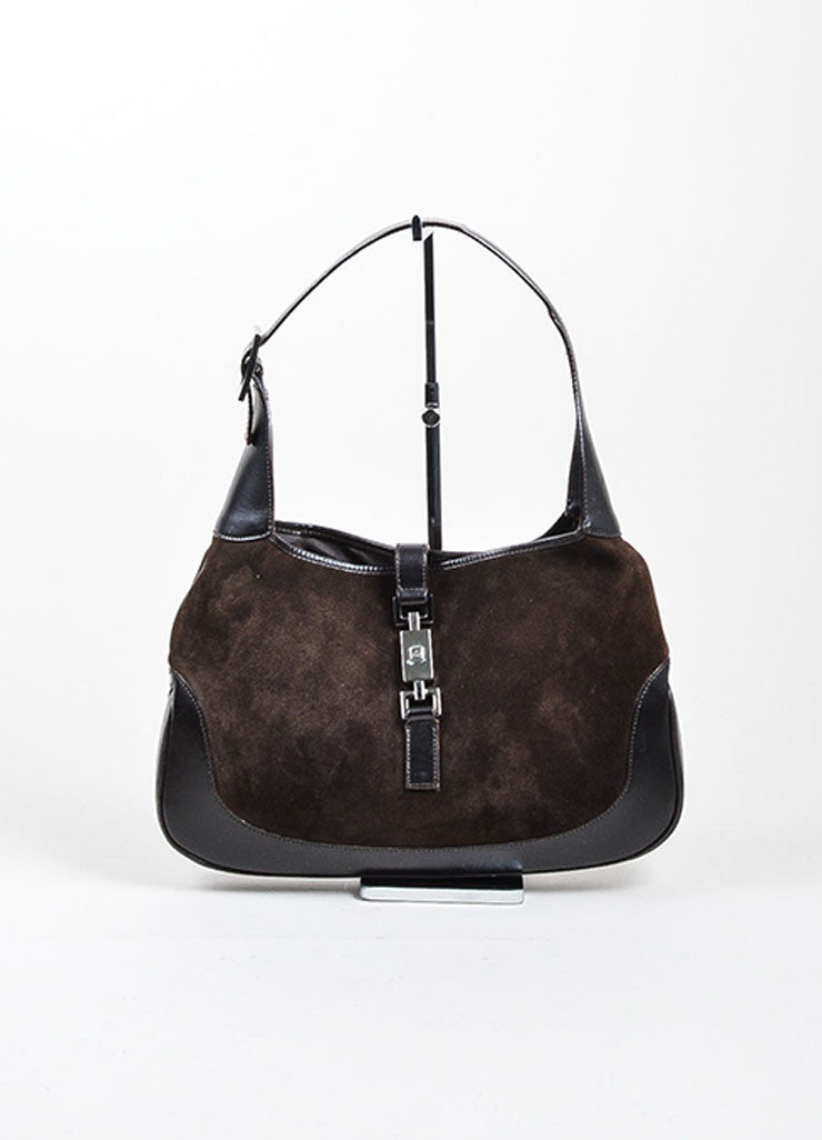 "Gucci Brown Suede Leather Trim ""Jackie"" Shoulder Bag Frontview"