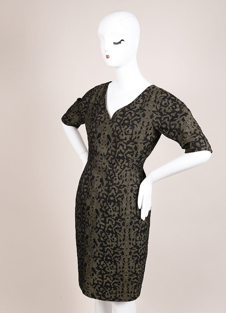 Gucci Green and Black Reptile Print Mid Sleeve V Neck Sheath Dress Sideview