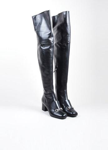 "Black Gucci Leather ""Charlotte 55mm"" Knee High Boots Front"