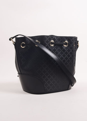 "Gucci Black Woven Leather ""Diamonte Hilary Lux"" Cross Body Bucket Bag Backview"
