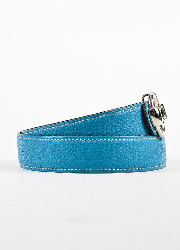 "Hermes ""Bleu Jean"" Blue and Black Clemence Chamonix Leather ""Horsebit H"" Belt Sideview"