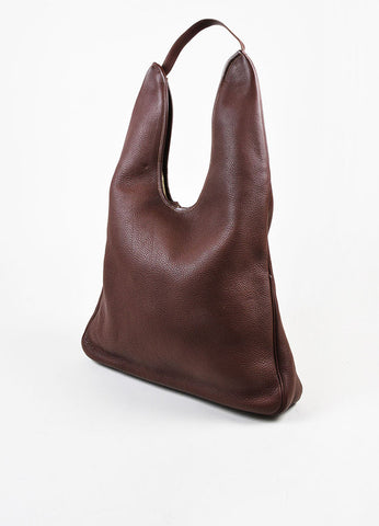 "Hermes Burgundy Clemence Leather ""Massai GM"" Dual Zip Square Shoulder Bag Sideview"