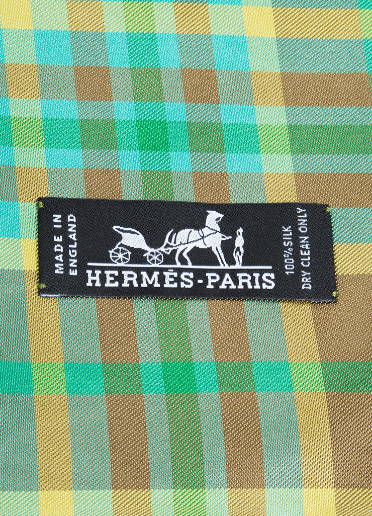 Green, Brown, and Yellow Hermes Plaid Silk Horse Print Scarf Brand