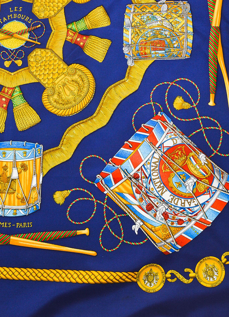"Hermes Navy Blue and Gold Silk ""Les Tambours"" Print 90cm Square Scarf Detail"