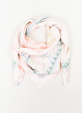 "Hermes Pink and Green Silk ""Chaque Recontre Est Unique"" Square Scarf  Frontview"