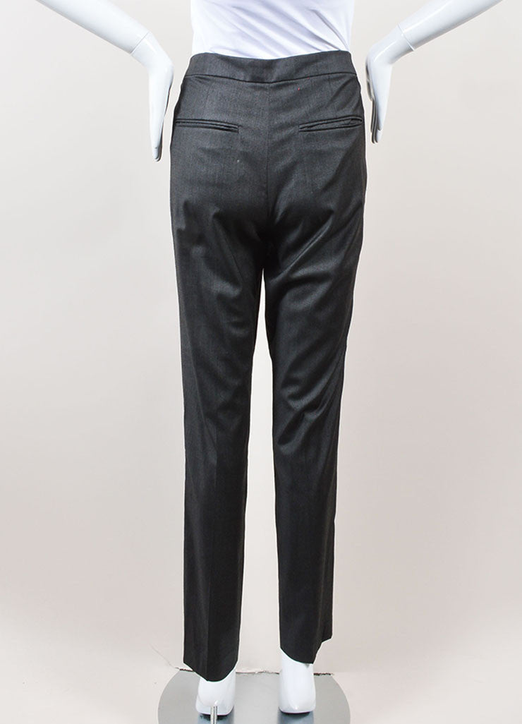 Isabel Marant Grey Lightweight Stretch Wool Straight Leg Trousers Pants Backview