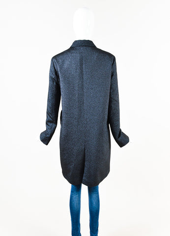 Jil Sander Navy Metallic Knit Single Breasted Button Long Sleeve Coat Back