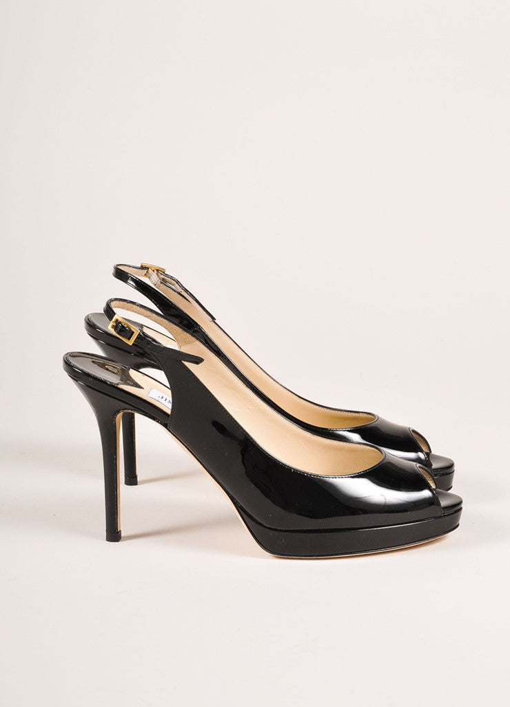 "Jimmy Choo New In Box Black Patent Leather ""Nova"" Platform Slingback Pumps Sideview"