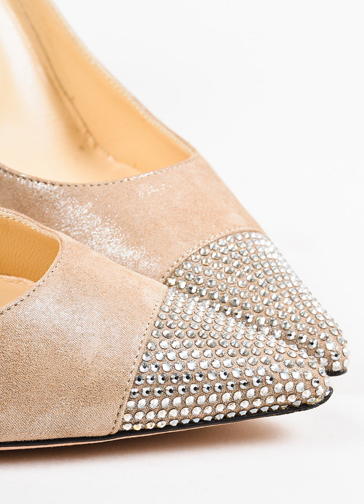 Nude Jimmy Choo Silver Metallic Suede Leather Crystal Cap Toe Pumps Detail