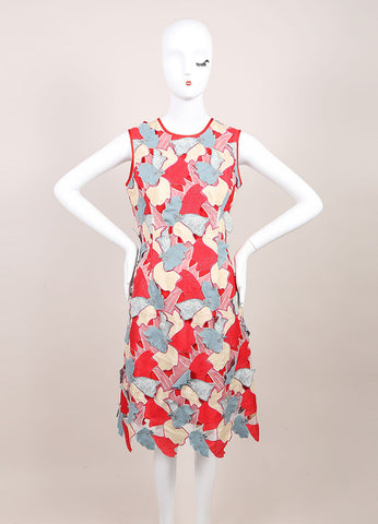 "Jonathan Saunders New With Tags Red and Blue Embroidered Flower ""Samantha"" Dress Frontview"
