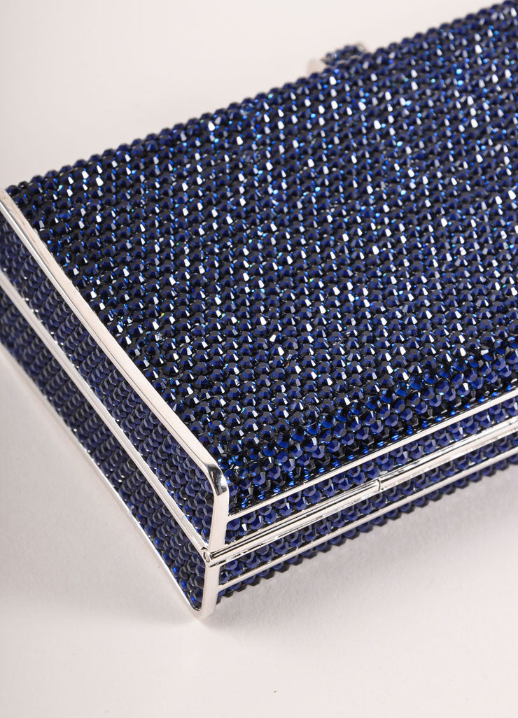 Judith Leiber Navy and Silver Rhinestone Small Rectangular Minaudiere Clutch Bag Detail