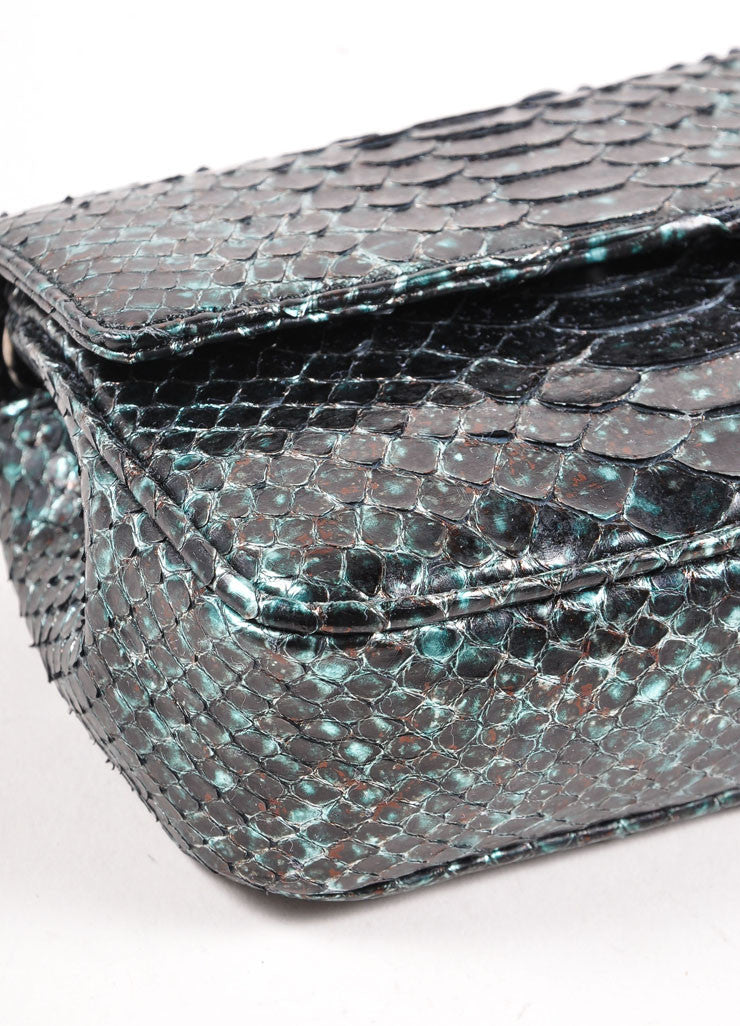 Judith Leiber Black and Teal Snakeskin Chain Strap Clutch Bag Detail