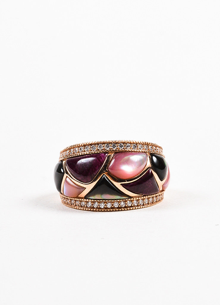 Kabana 14K Rose Gold Pink Mother Of Pearl Diamond Mosaic Ring Frontview