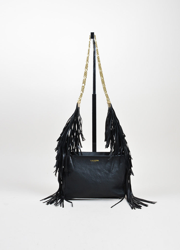 Lanvin Tribal Fringe Black Grained Leather Multistrand Chain Shoulder Bag Frontview