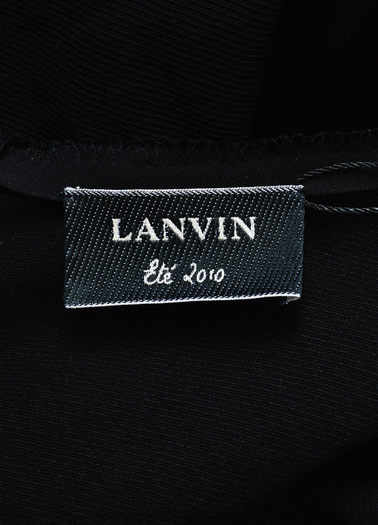 Lanvin Black Twill Silk Oversized Ruffle Ruched Sleeveless Cocktail Dress Brand