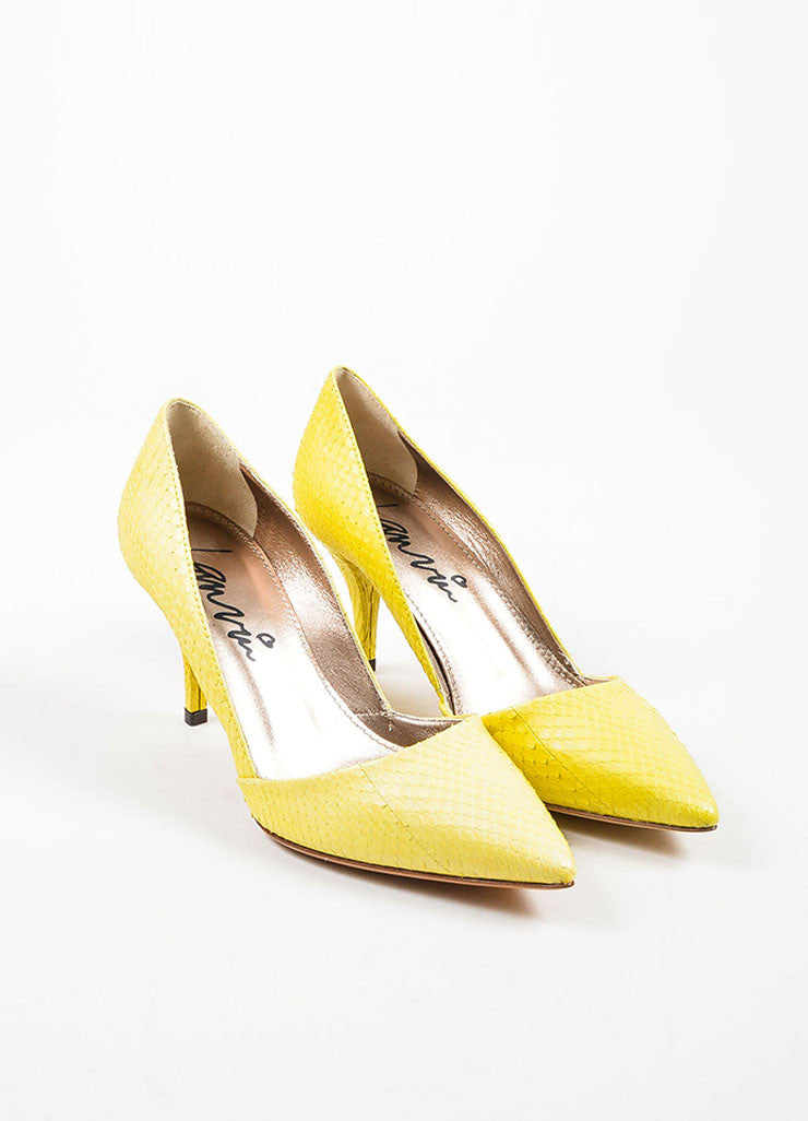 Lanvin Lemon Yellow Snakeskin Point Toe D'orsay Heels Pumps Frontview