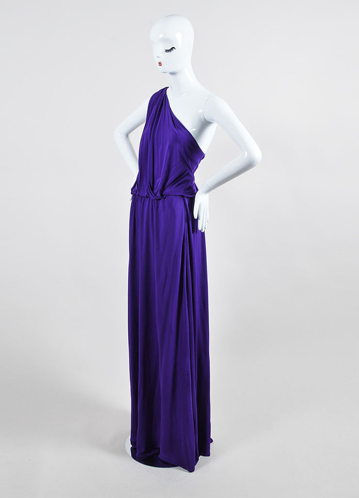 Purple Lanvin Stretch Knit Twisted One Shoulder Maxi Dress Sideview