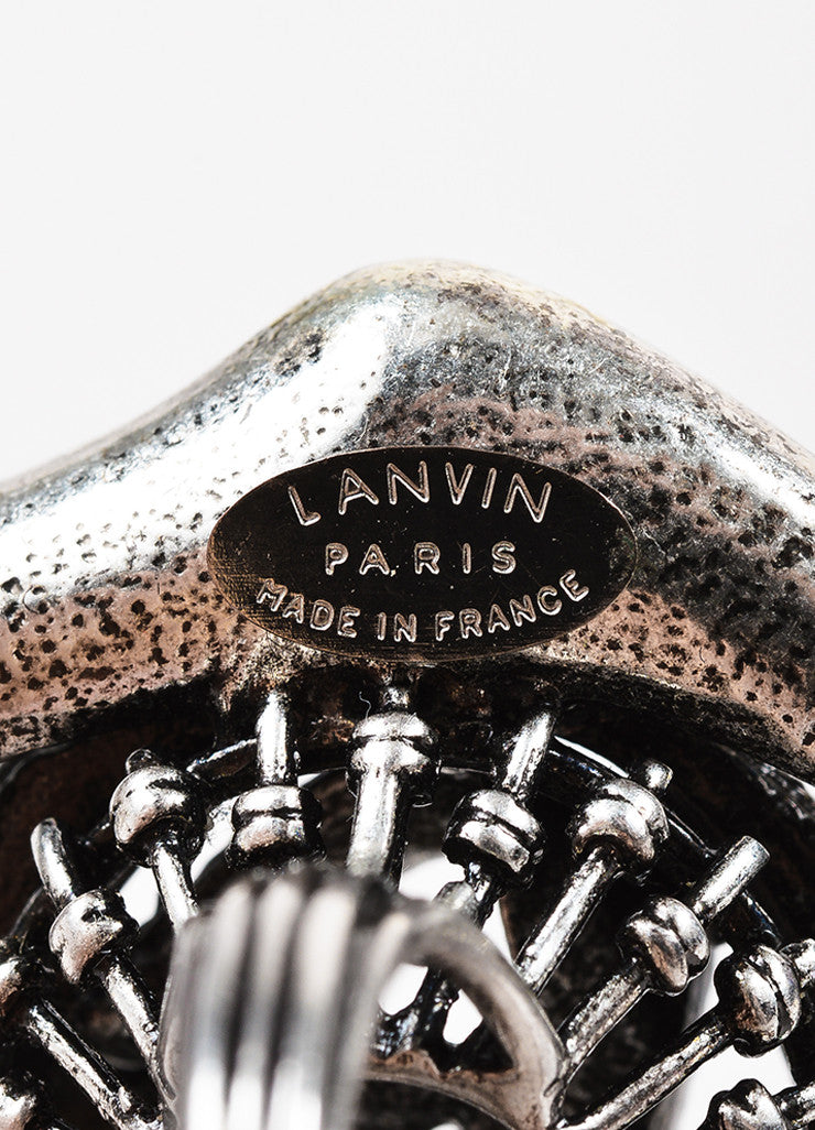 Lanvin Silver Toned Metal Rhinestone Embellished Rose Ring Brand