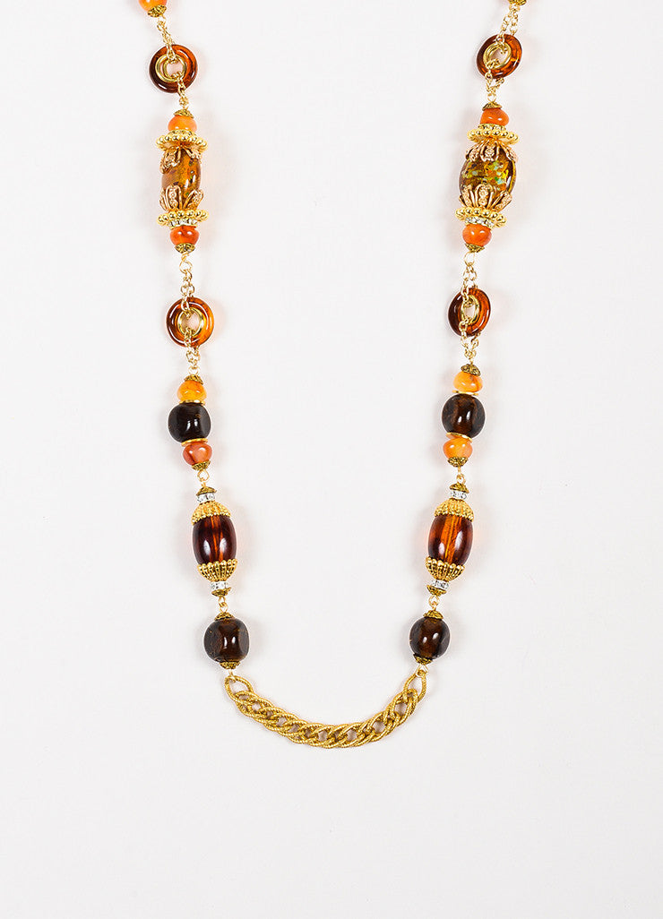 Lawrence Vrba Gold Toned Amber Orange Beaded Embellished Strand Chain Necklace Detail