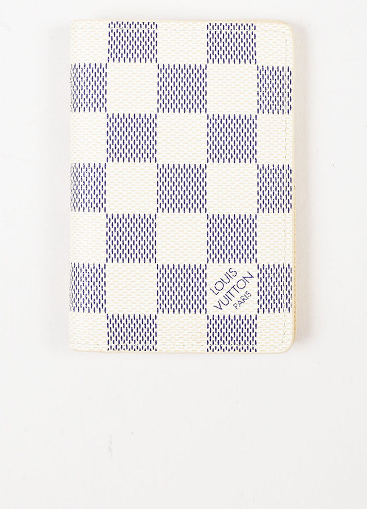 Louis Vuitton White and Navy Coated Canvas Damier Azur Print Pocket Organizer Frontview