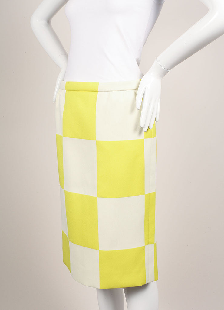 Louis Vuitton Neon Yellow and White Checkerboard Pencil Skirt Sideview