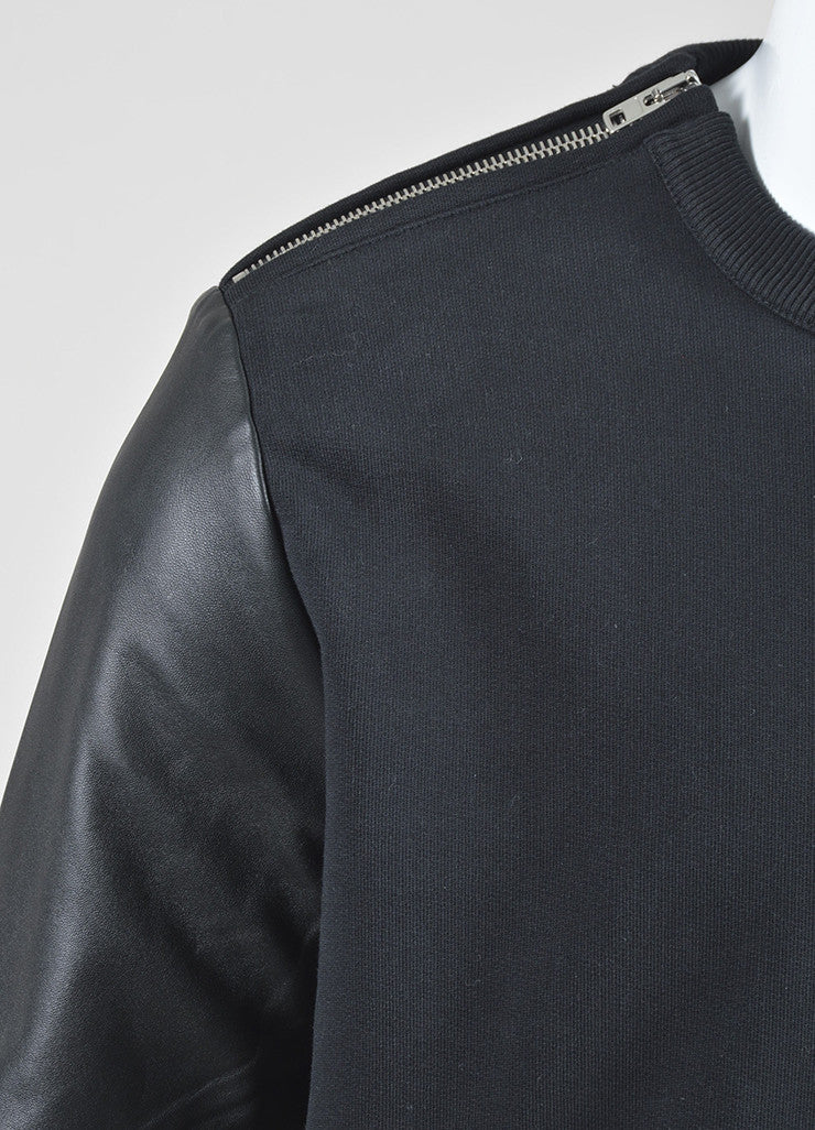 Men's Black Givenchy Leather Sleeve Zip Detail Pullover Sweatshirt Detail