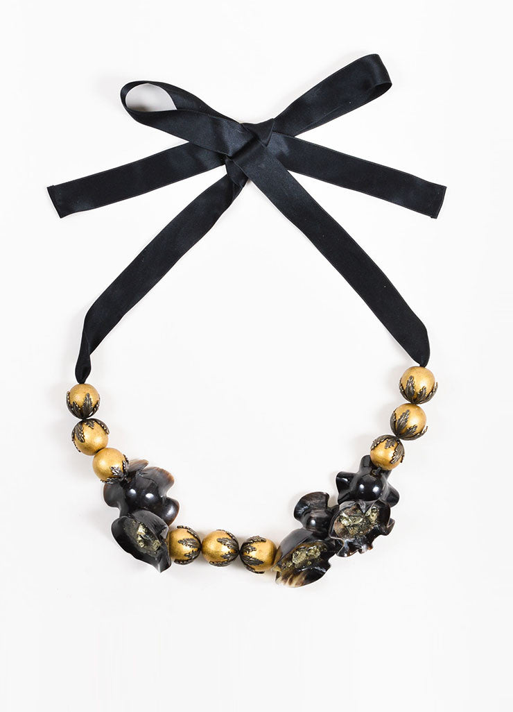 Marni Black and Metallic Gold Toned Horn, Pyrite, and Resin Beaded Statement Tie Necklace Frontview