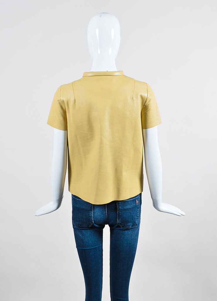 Beige Marni Leather Round Collar Short Sleeve Button Up Top Backview