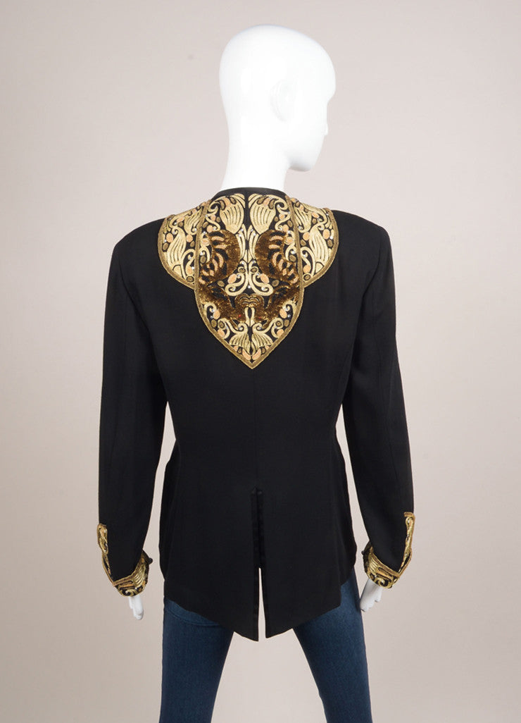 Matsuda Black and Gold Wool Embroidered Sequin Blazer Jacket Backview