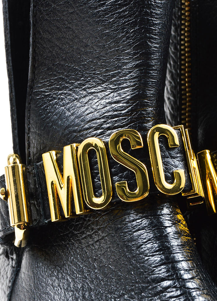 Black Leather and Gold Toned Logo Moschino Couture  Buckled Biker Boots Detail