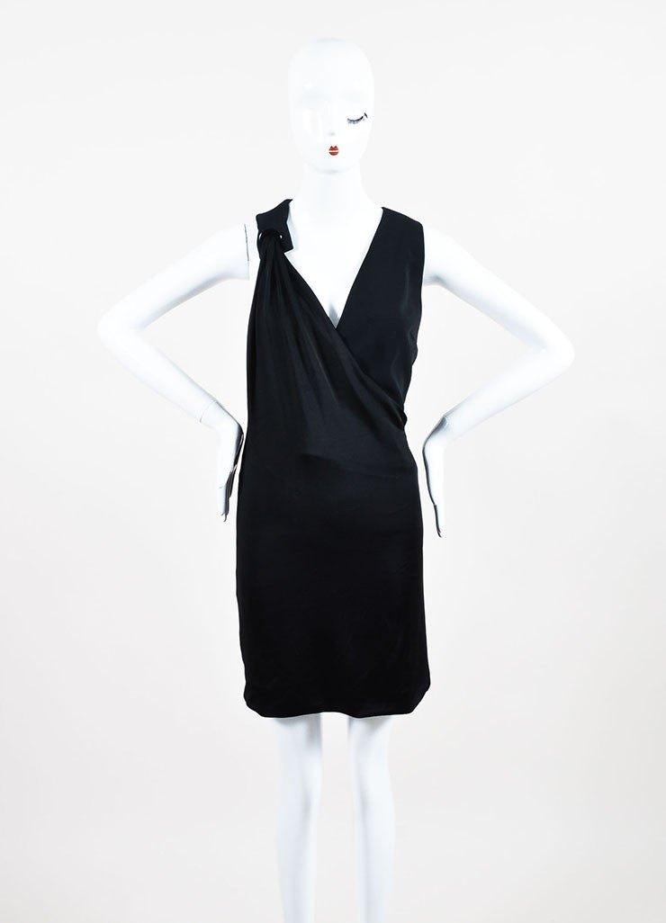 Mugler Black Jersey Draped Plunging V-Neck Sleeveless Cocktail Dress Frontview