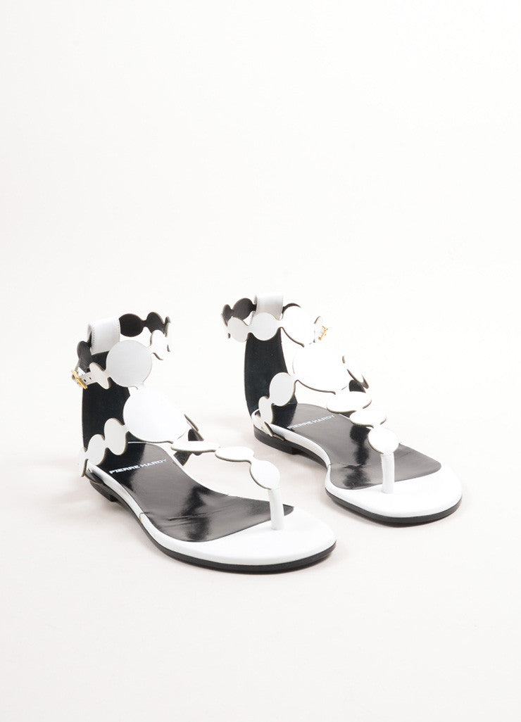 Pierre Hardy White Calf Leather Metallic Circle Flat Thong Sandals Frontview