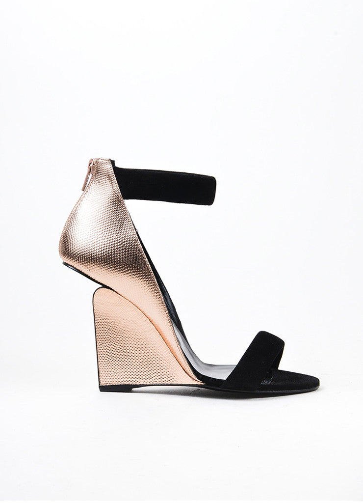"Pierre Hardy Black and Rose Gold Leather ""Amanda"" Wedge Sandals Sideview"