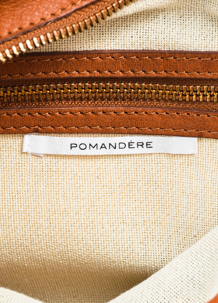 Pomandere Black, Brown, and White Canvas and Leather Fringed Herringbone Clutch Brand