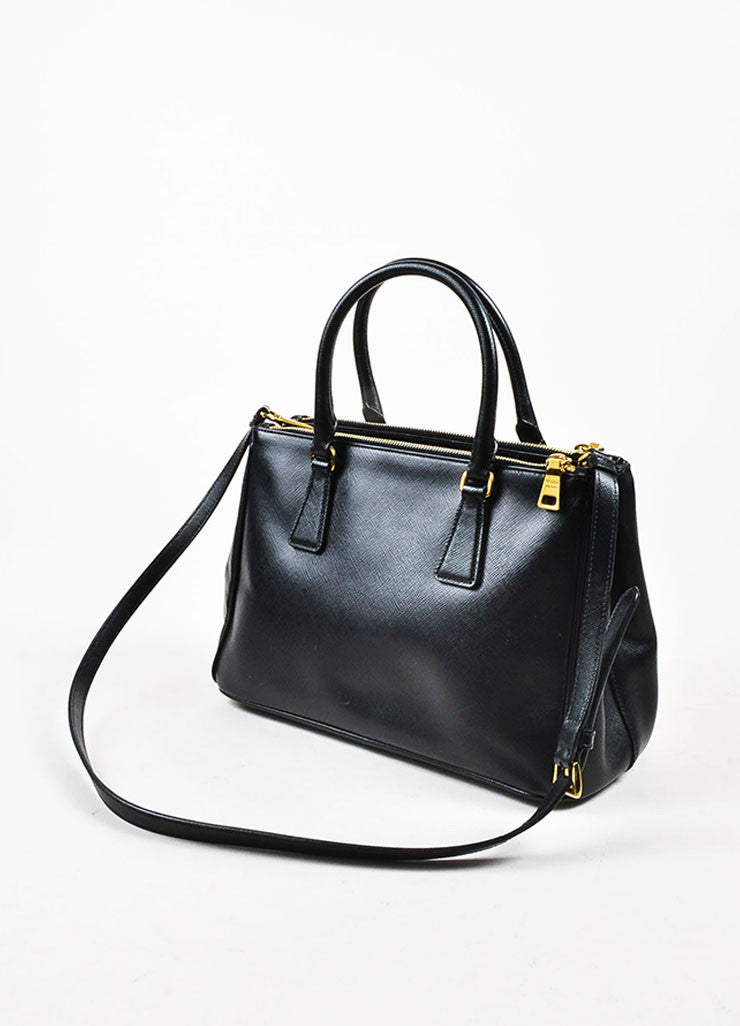"Prada Black Saffiano Leather ""Small Double Zip Tote"" Bag Backview"