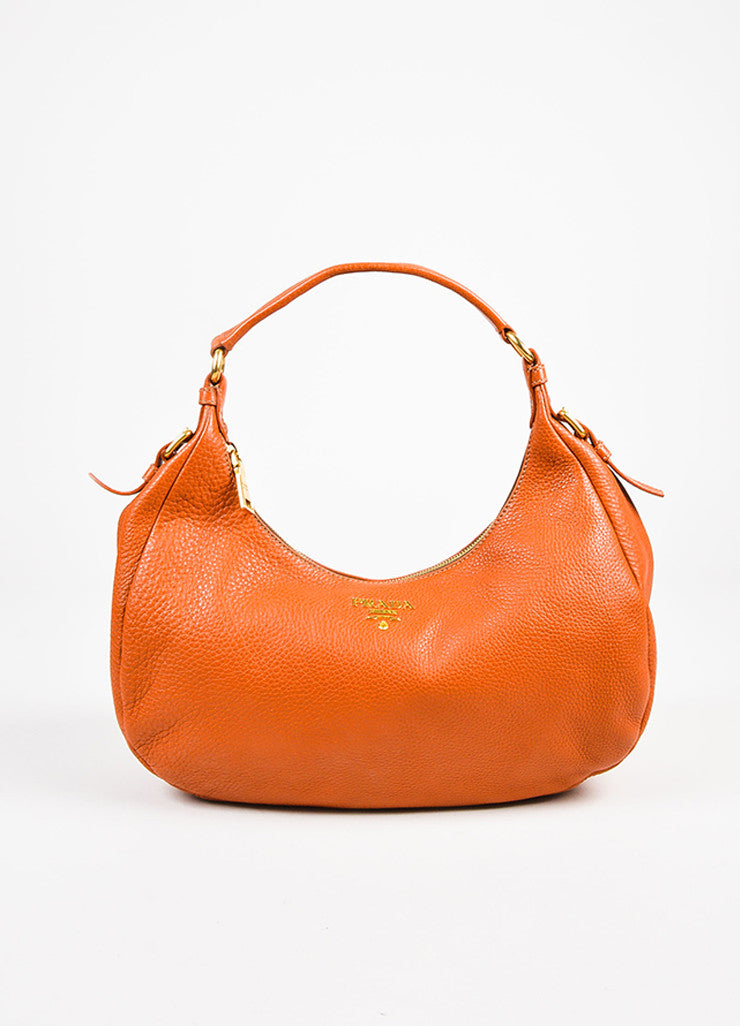 "Prada Burnt Orange Grained Leather ""Vitello Daino"" Hobo Bag Frontview"