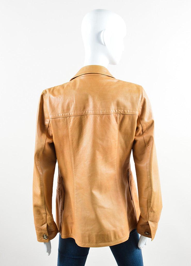 Prada Tan Leather Long Jacket Backview